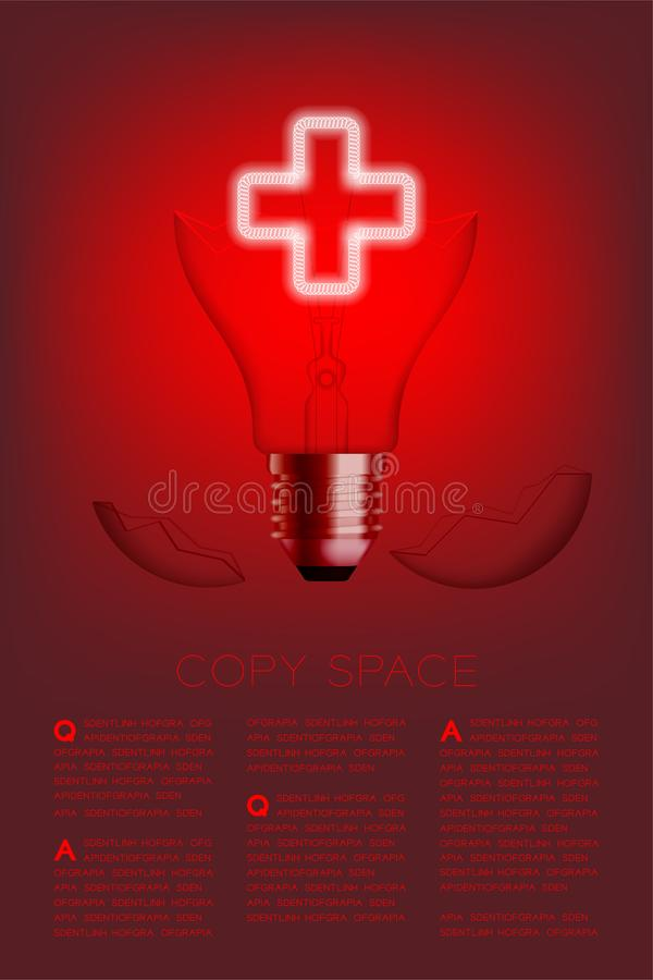 Cross sign shape broken Incandescent light bulb switch on set Medical organization concept, illustration isolated glow in red. Gradient background, with copy stock illustration