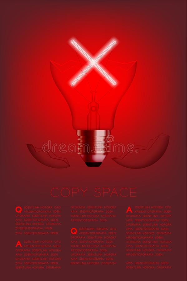 Cross sign shape broken Incandescent light bulb switch on set Wrong idea concept, illustration isolated glow in red gradient. Background, with copy space vector stock illustration