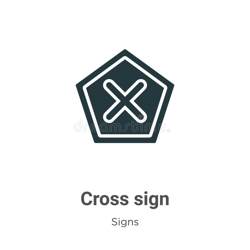 Cross sign vector icon on white background. Flat vector cross sign icon symbol sign from modern signs collection for mobile stock illustration