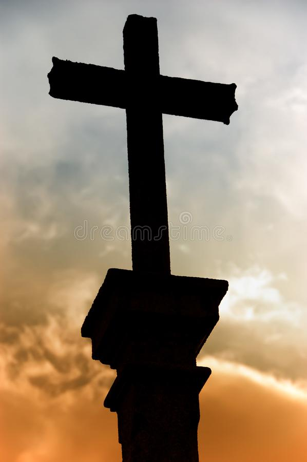 Cross silhouette royalty free stock photography