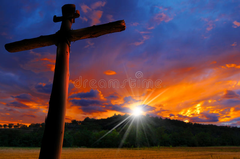 Cross Silhouette at the Sunset royalty free stock photos