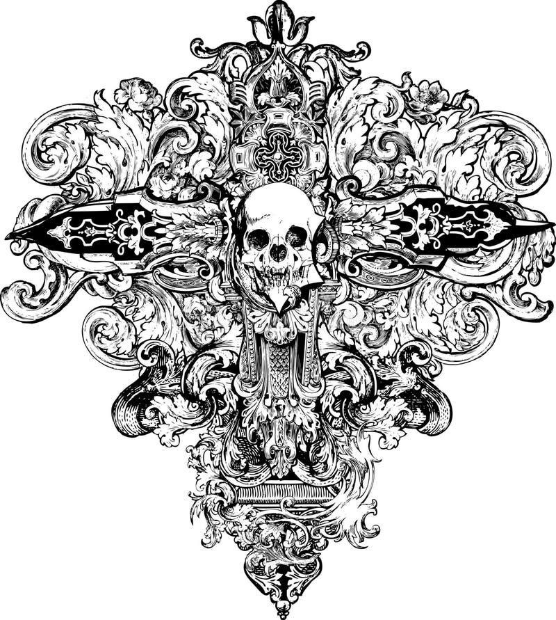 Free Cross Skull Illustration Stock Images - 10520054