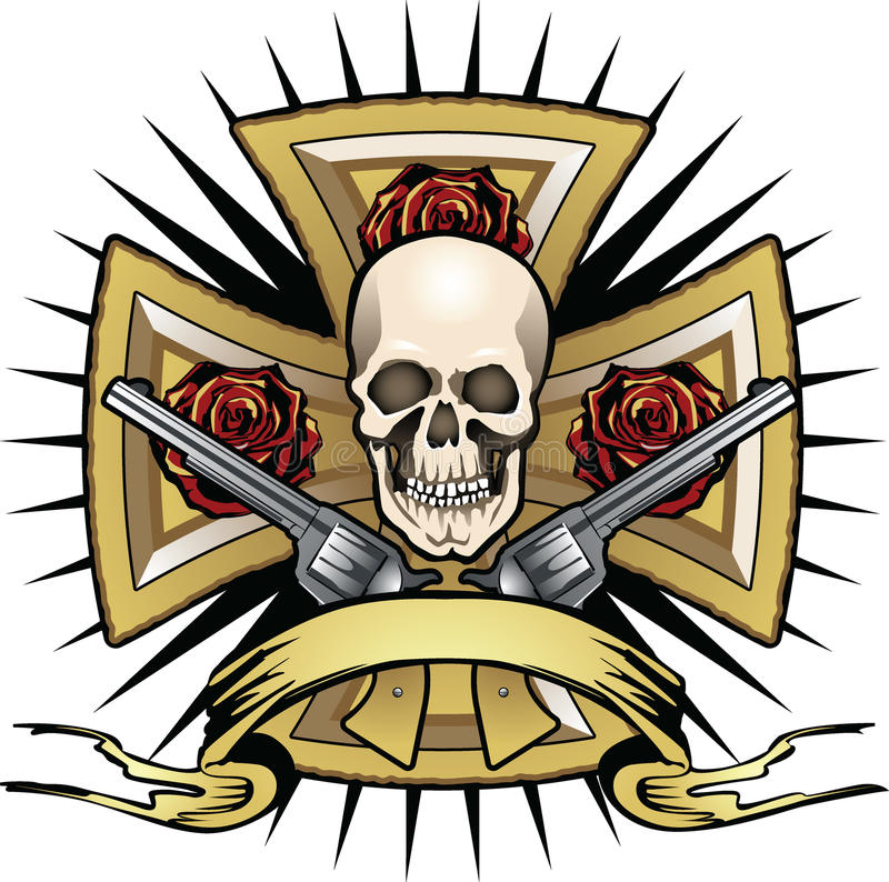 Cross with skull and psitols stock image
