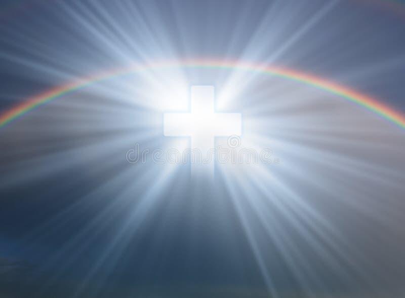 Cross in sky. Sign of faith. Cross in sky with rainbow vector illustration