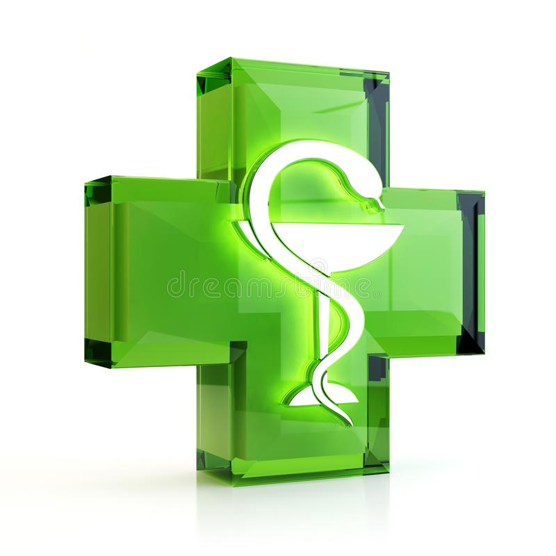 Cross and snake, 3D illustration stock images
