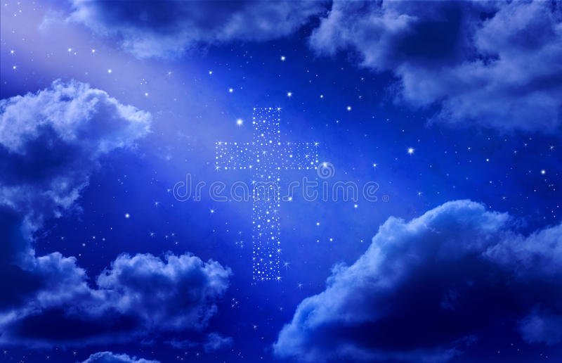 Cross Stars Sky Heaven Background. A background of a night sky with a cross made of stars and a shaft of light
