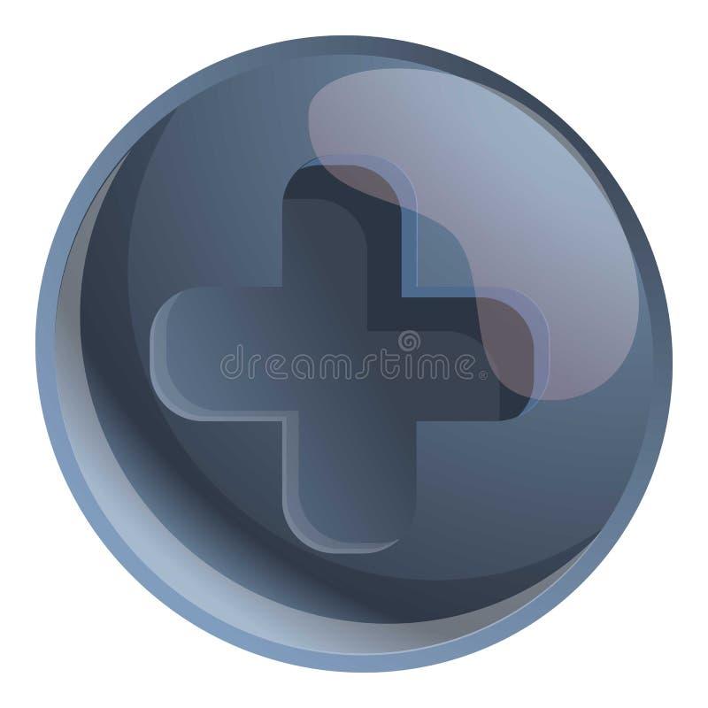 Cross steel screw head icon, cartoon style. Cross steel screw head icon. Cartoon of cross steel screw head vector icon for web design isolated on white stock illustration