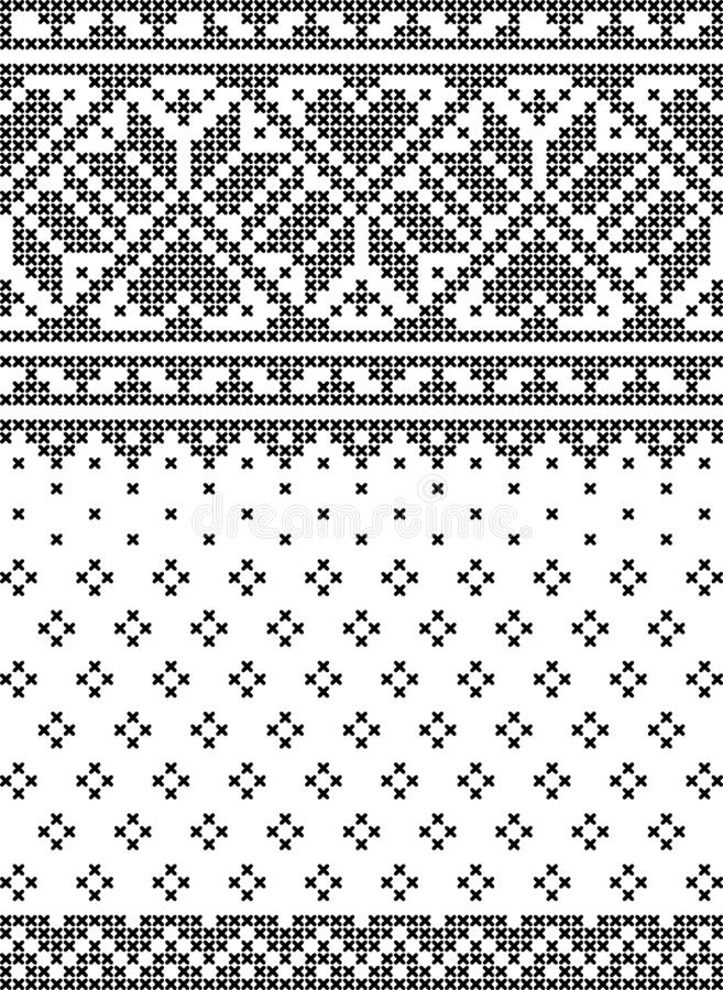 Cross stich, set of seamless patterns vector illustration