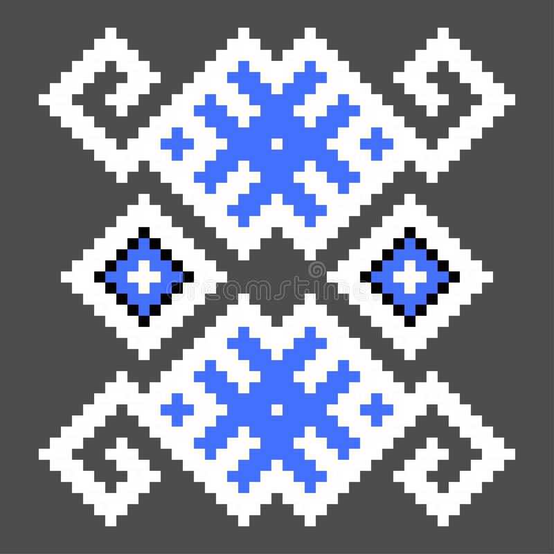 Fun cross stitch element. Isolated ukrainian blue pattern. Cross stitch element. Isolated ukrainian blue pattern background decoration embroidery fabric textile vector illustration