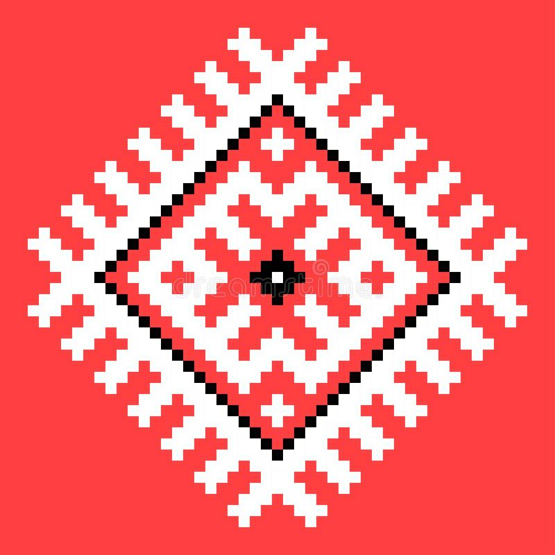 Cool cross stitch element. Isolated ukrainian pattern on red. Cross stitch element. Isolated ukrainian pattern on red background decoration embroidery fabric royalty free illustration