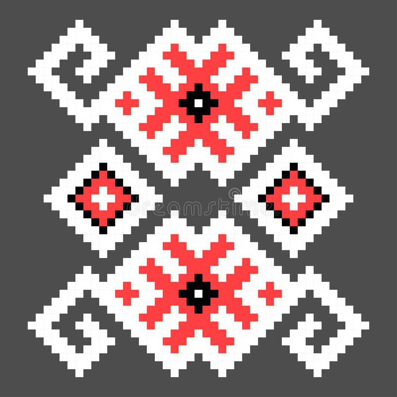 Fun cross stitch element. Isolated ukrainian red pattern. Cross stitch element. Isolated ukrainian red pattern background decoration embroidery fabric textile royalty free illustration