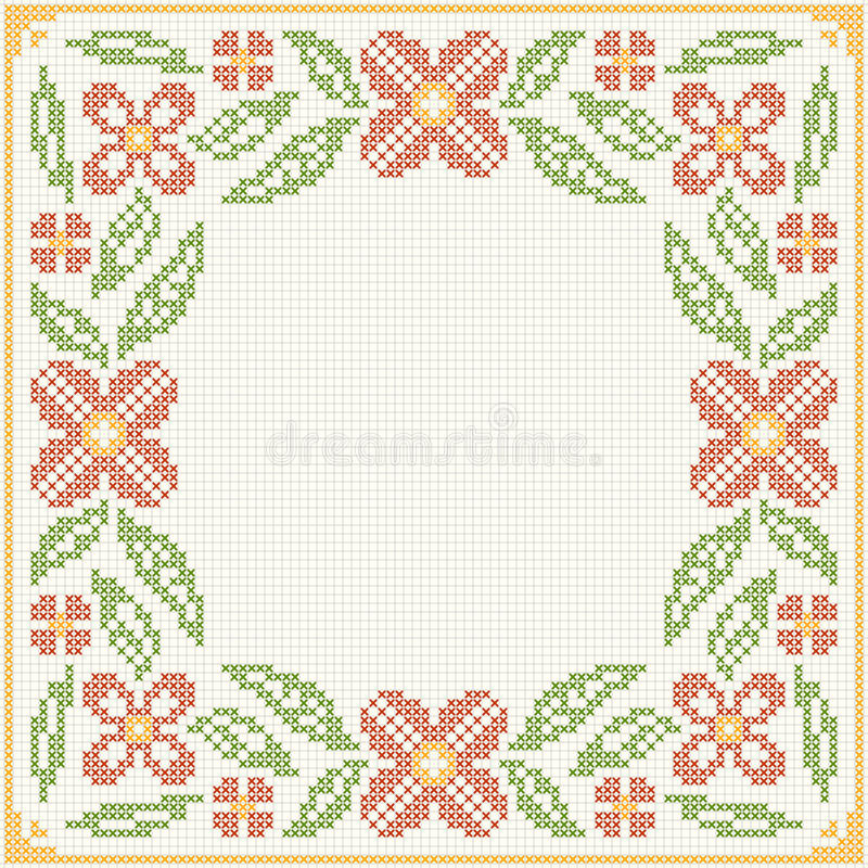 Cross-stitch embroidery - flowers and leaves vector illustration
