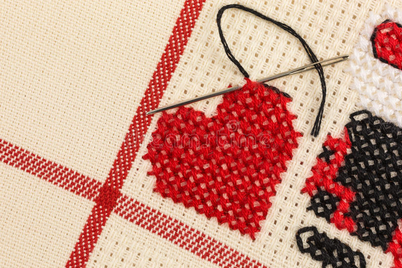 Cross stitch embroidery stock images