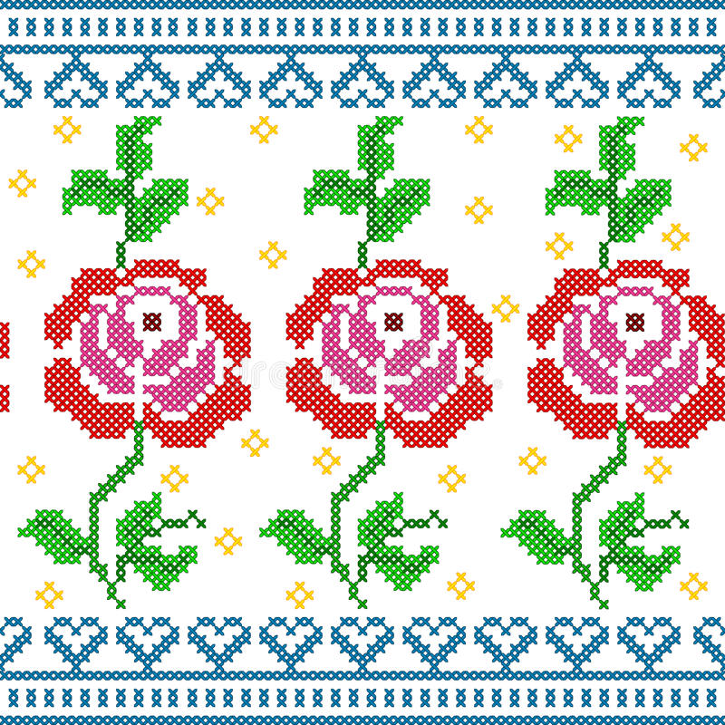 Free Cross Stitch Embroidery Rose Floral Design For Seamless Pattern Texture Stock Photography - 95153052