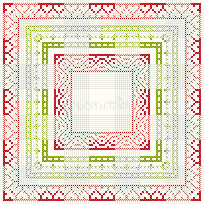Cross-stitch embroidery - set of borders royalty free illustration