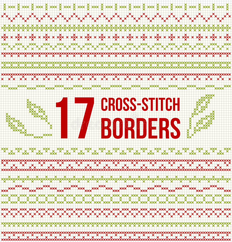 Cross Stitch Embroidery Set Of Borders Stock Image Image Of