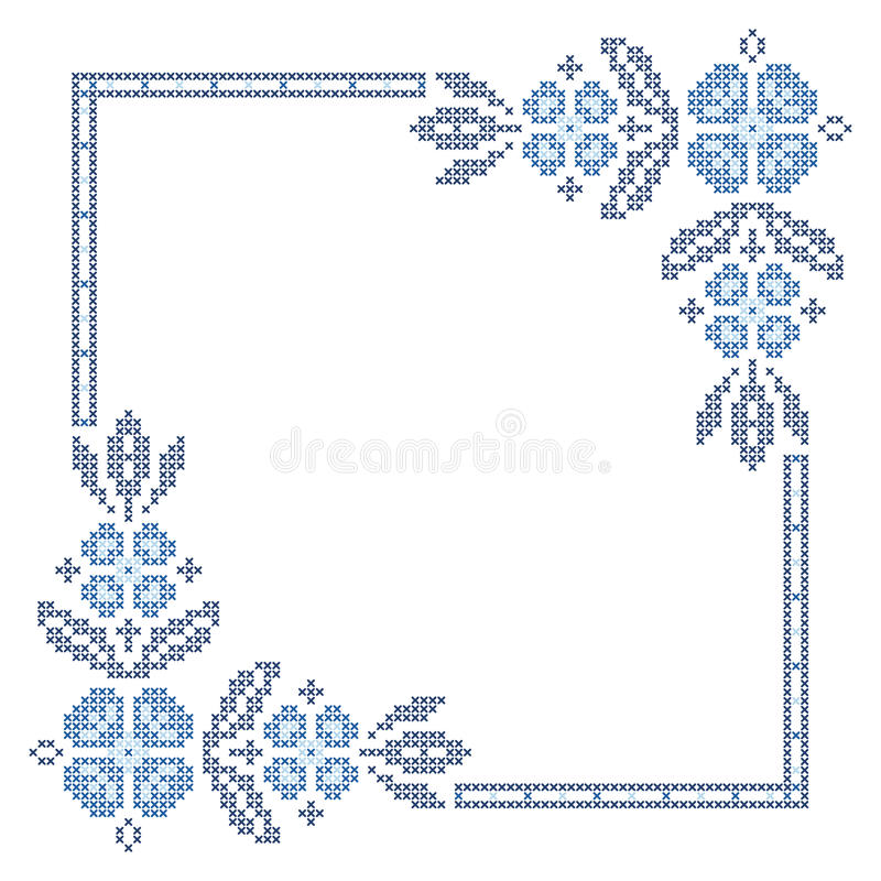 Cross-stitch embroidery in Ukrainian style. Cross-stitch embroidery in Ukrainian traditional ethnic style stock illustration