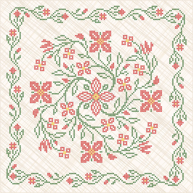 Cross-stitch embroidery in Ukrainian style royalty free illustration