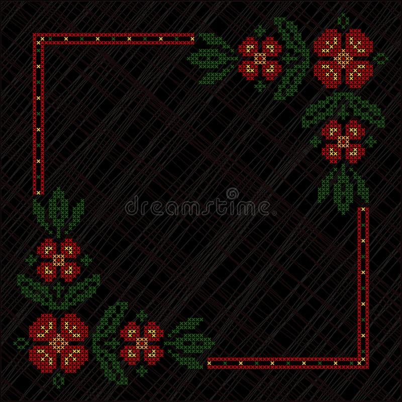 Cross-stitch embroidery in Ukrainian style. Cross-stitch embroidery in Ukrainian traditional ethnic style, on black background stock illustration