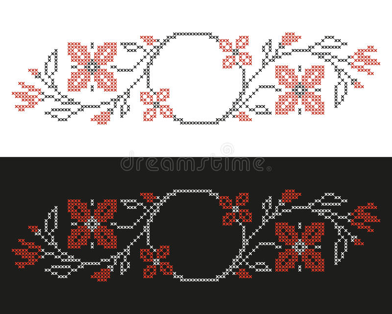 Cross-stitch embroidery in Ukrainian style. Design elements for cross-stitch embroidery in Ukrainian traditional ethnic style. Red and black, vector illustration vector illustration