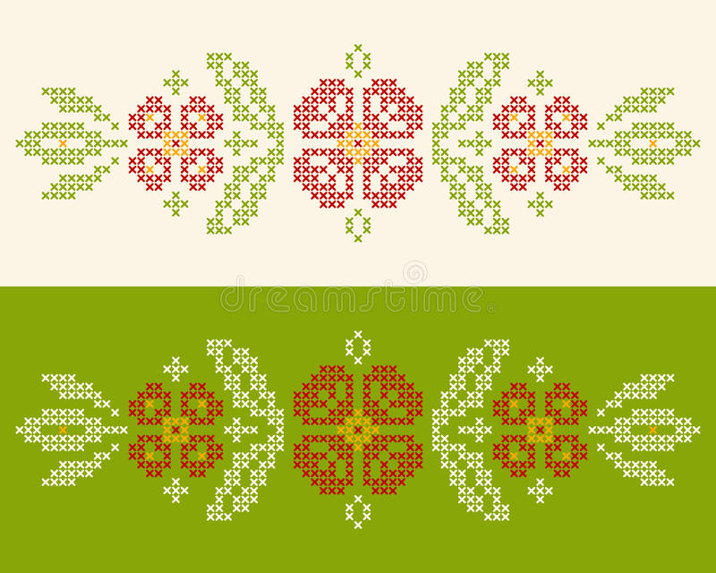 Cross-stitch embroidery in Ukrainian style. Design elements for cross-stitch embroidery in Ukrainian traditional ethnic style. Red and green, illustration stock illustration