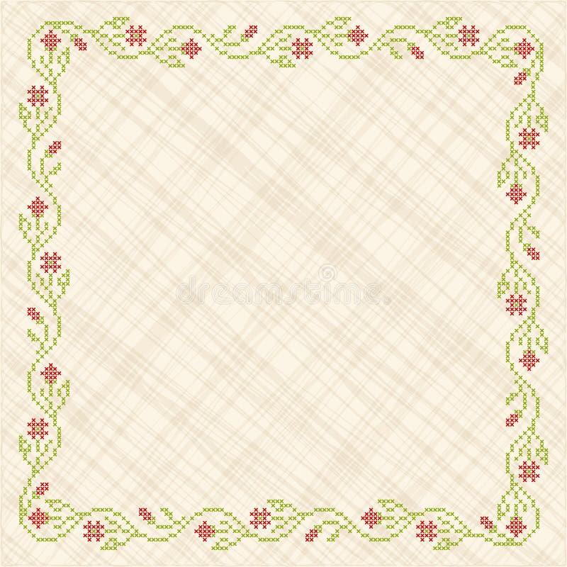 Cross-stitch embroidery in Ukrainian style vector illustration