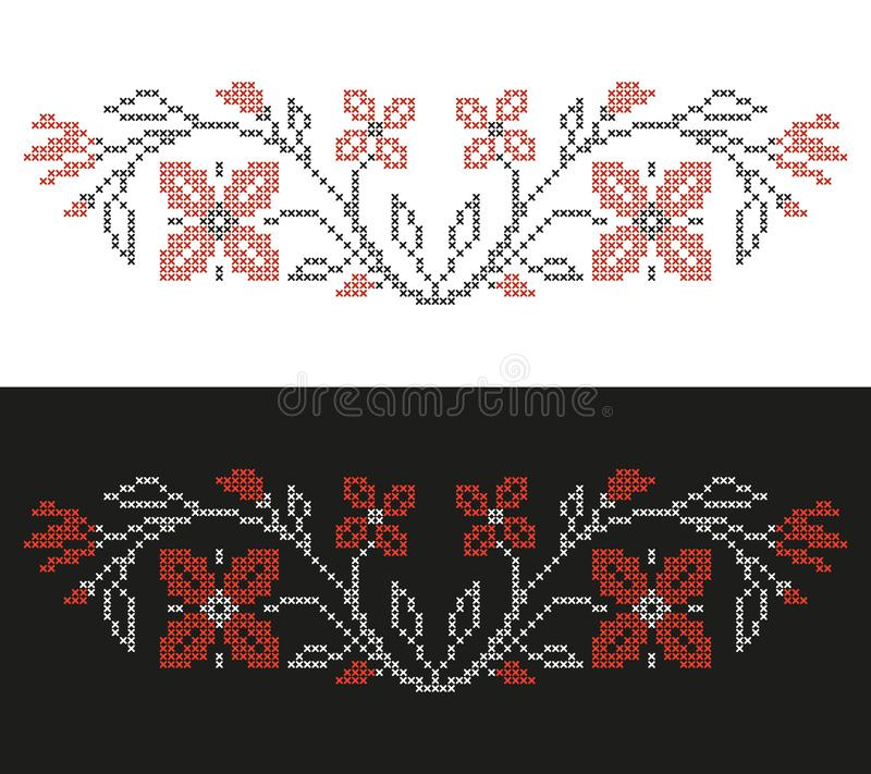 Cross-stitch embroidery in Ukrainian style, embroidered flowers and ABC, floral border vector illustration