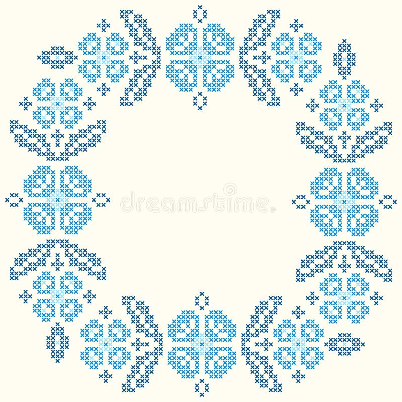 Cross-stitch embroidery in Ukrainian style. Embroidered round floral frame. royalty free illustration