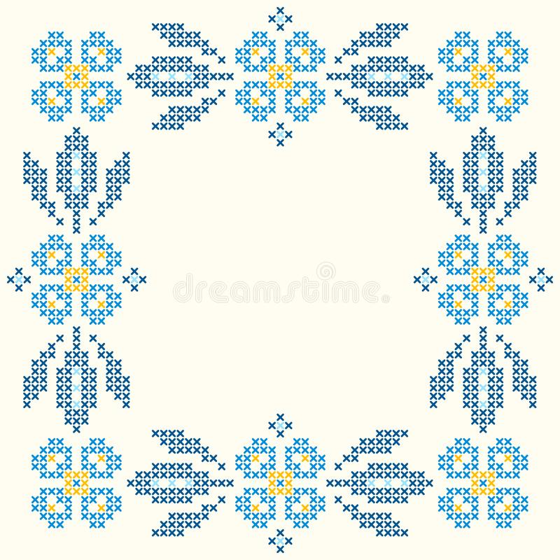 Cross-stitch embroidery in Ukrainian style. Embroidered square floral frame. Floral frame for cross-stitch embroidery in Ukrainian traditional ethnic style stock illustration