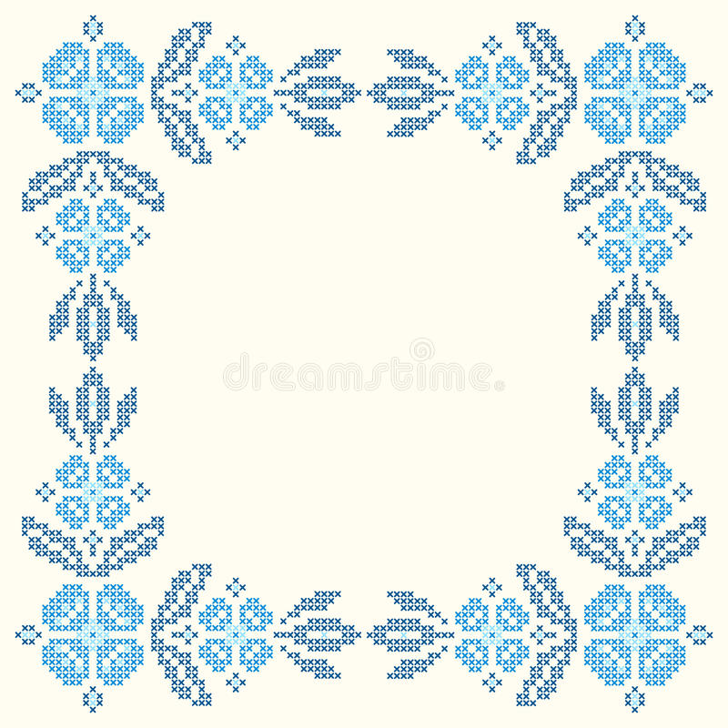 Cross-stitch embroidery in Ukrainian style. Floral frame for cross-stitch embroidery in Ukrainian traditional ethnic style. Blue colors, illustration stock illustration