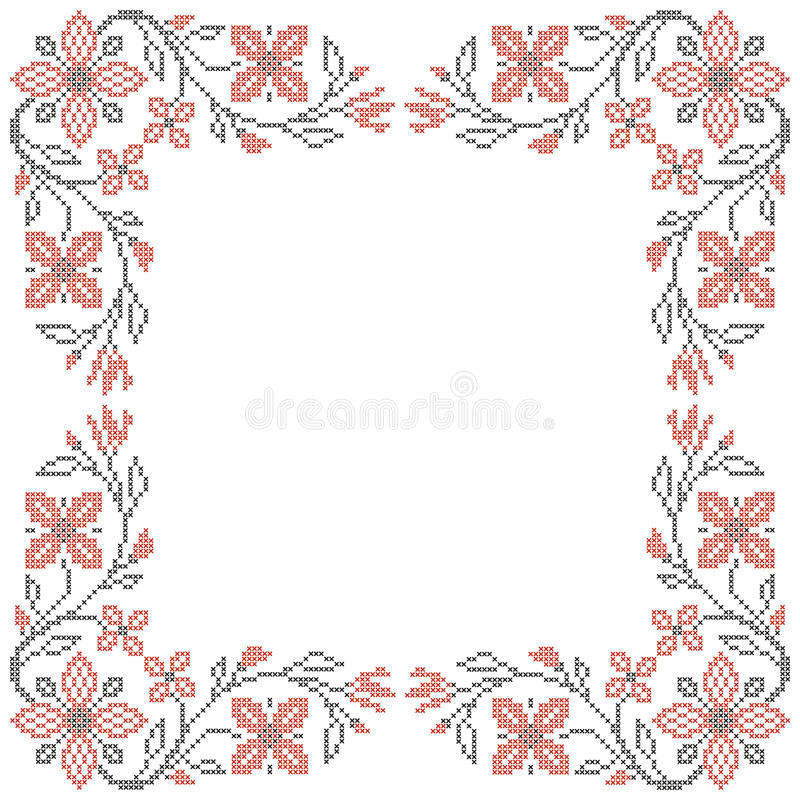 Cross-stitch embroidery in Ukrainian style stock illustration