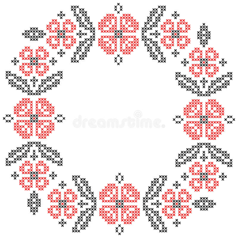 Cross-stitch embroidery in Ukrainian style. Floral frame for cross-stitch embroidery in Ukrainian traditional ethnic style. Red and black, vector illustration stock illustration