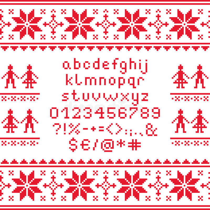 Cross Stitch Lowercase Alphabet With Numbers And Symbols Pattern ...