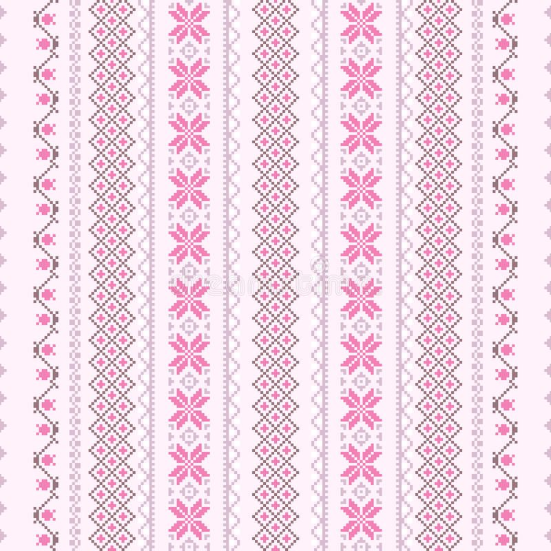 Download Cross-stitch Pattern In Pink Stock Vector - Image: 25637923