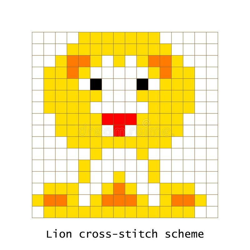 Vector Pixel Art Lion Stock Vector Illustration Of Brown