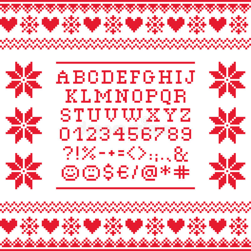 Cross Stitch Uppercase Alphabet With Numbers And Symbols Pattern ...