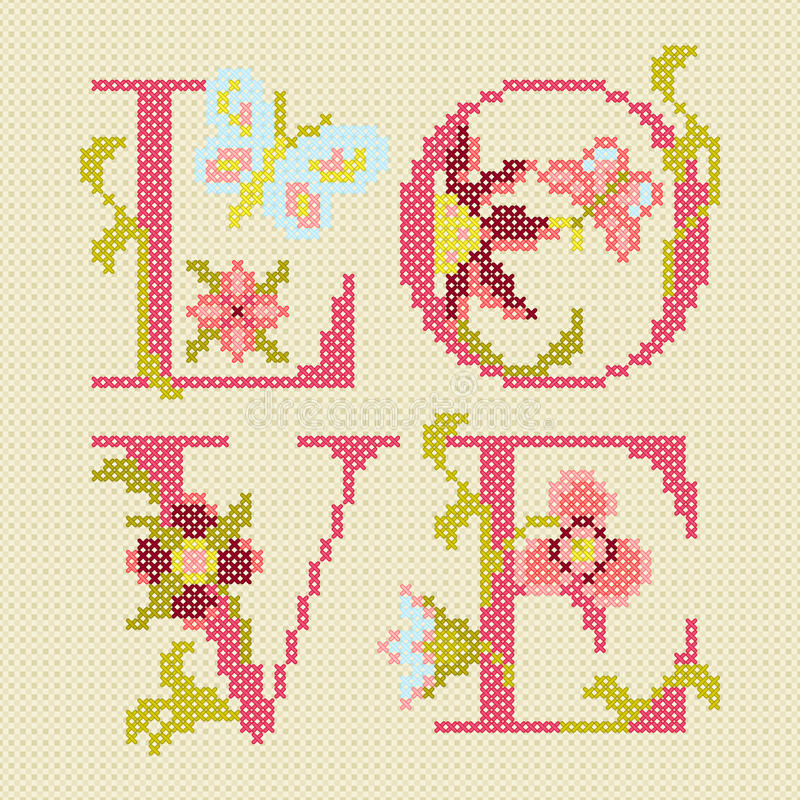 Download Cross-stitching embroidery stock vector. Image of illustration - 28613852