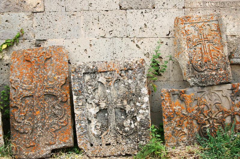 Khachkars or cross-stones stock images