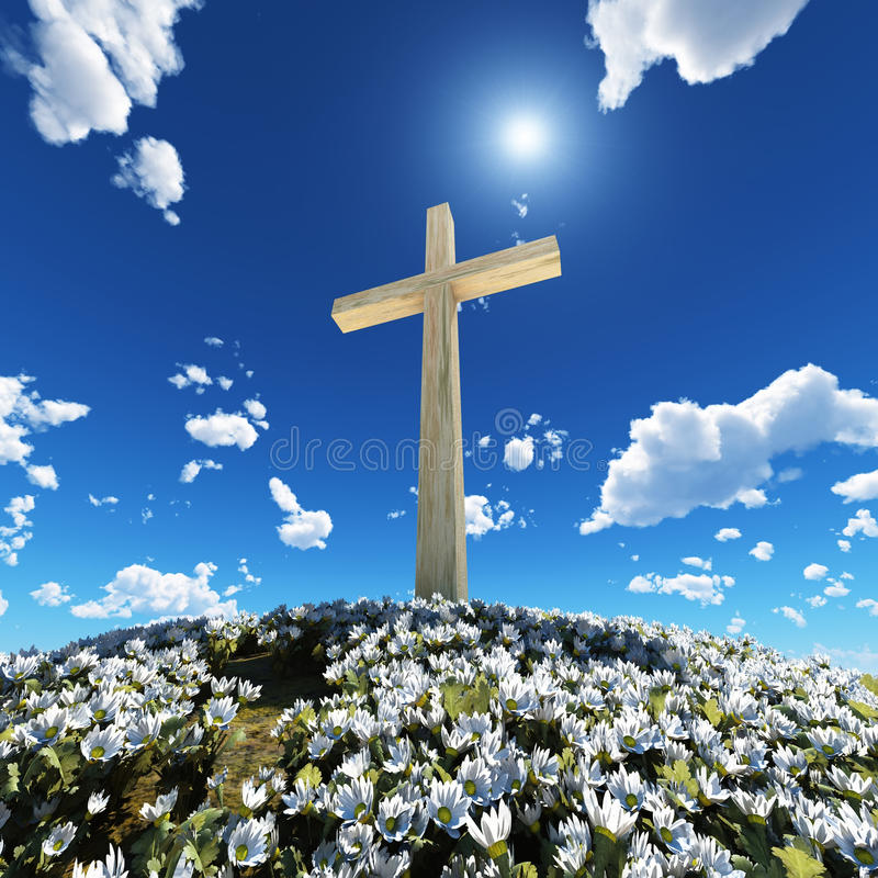 Cross surrounded by flowers stock images