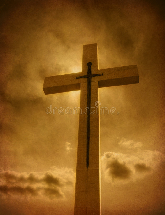 Cross with sword royalty free stock image