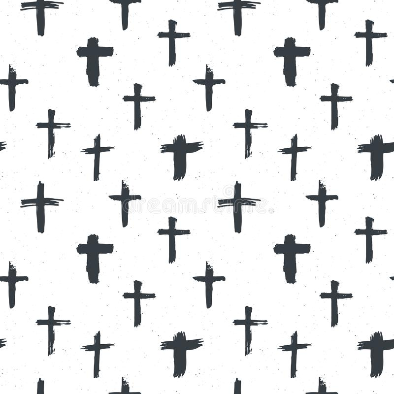Cross symbols seamless pattern grunge hand drawn Christian crosses, religious signs icons, crucifix symbol vector illustration vector illustration