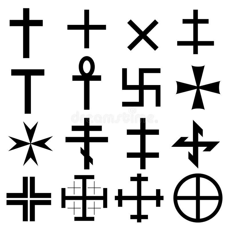 Cross symbols set royalty free illustration