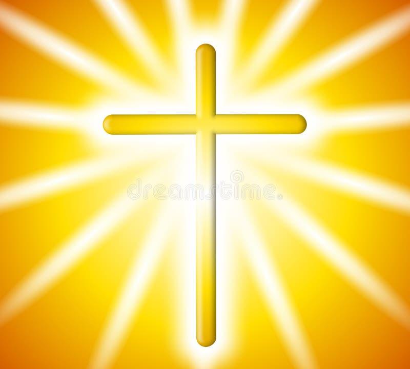 cross tła złotych promieni świetlnych royalty ilustracja