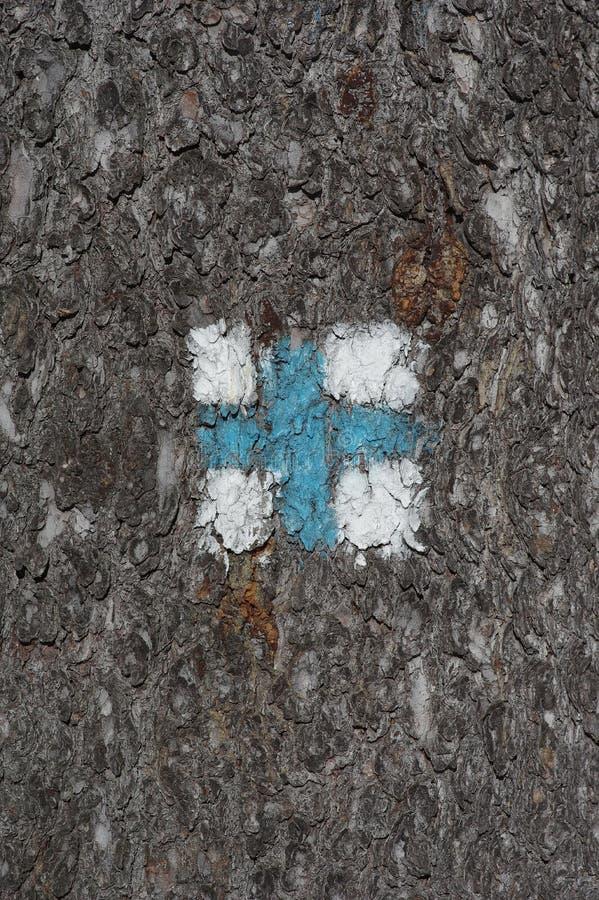 Cross tourist sign. Close up of a cross tourist sign stock image