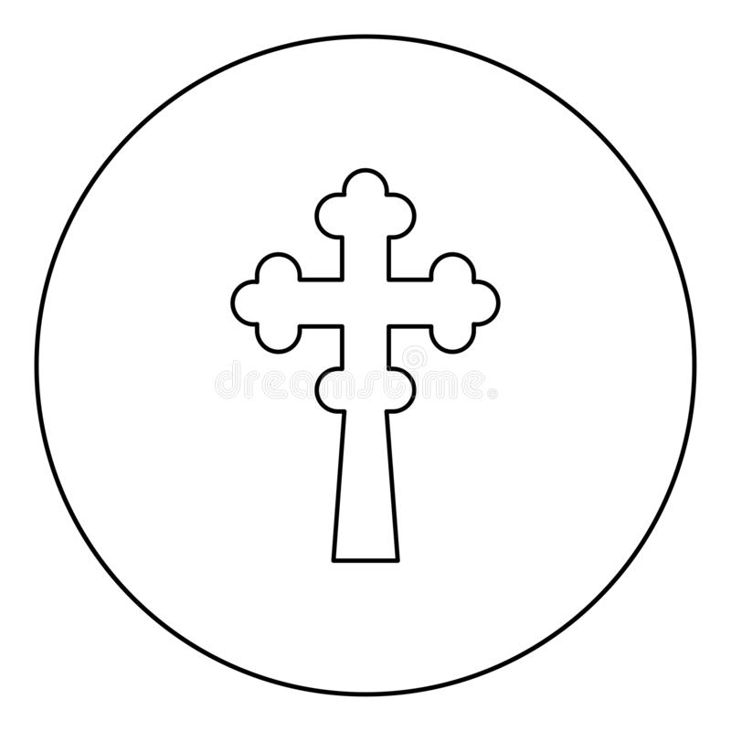 145. Cross trefoil shamrock on church cupola domical with cut Cross monogram Religious cross icon in circle round outline black color vector illustration flat stock illustration