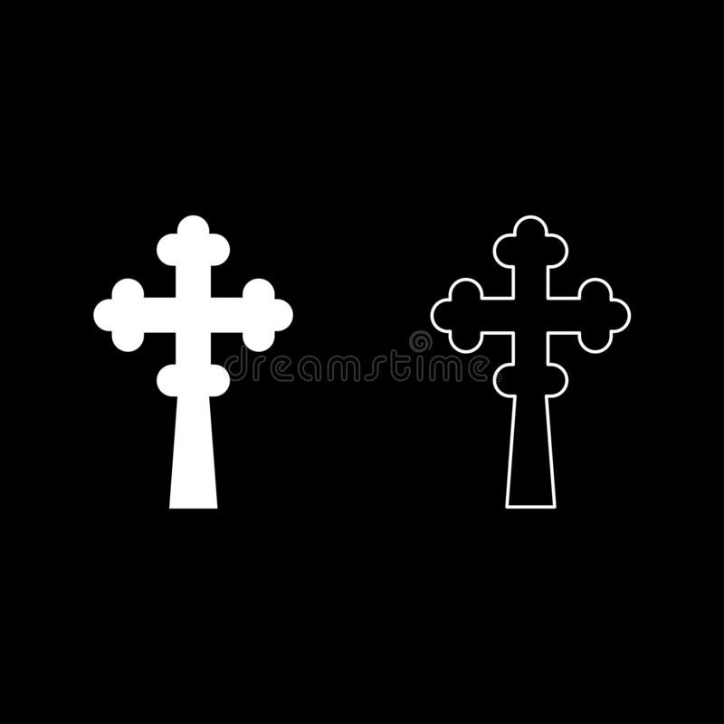 Cross trefoil shamrock on church cupola domical with cut Cross monogram Religious cross icon set white color vector illustration. Flat style simple image stock illustration