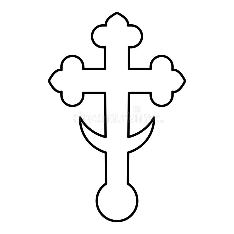 Cross trefoil shamrock on church cupola domical with half-moon Cross monogram Religious cross icon black color outline vector. Illustration flat style simple royalty free illustration