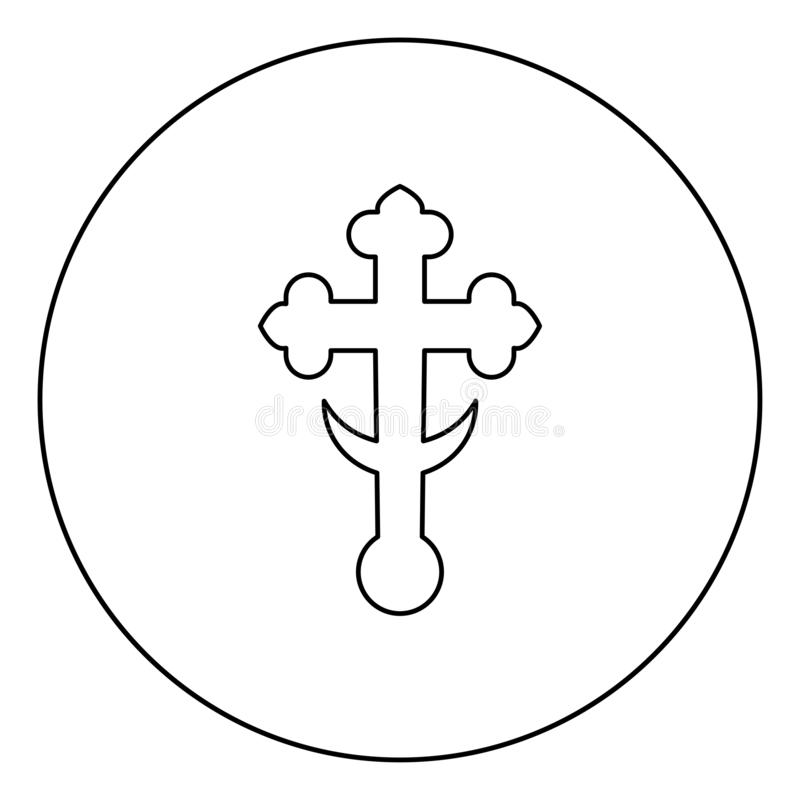 145. Cross trefoil shamrock on church cupola domical with half-moon Cross monogram Religious cross icon in circle round outline black color vector illustration royalty free illustration