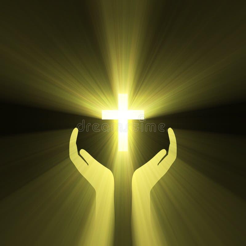cross uścisku ręki boga błyski światła royalty ilustracja