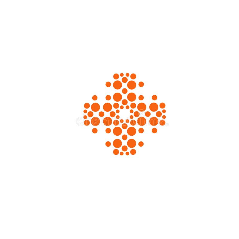 Cross vector icon. Cross unusual shape. Innovative medical technology orange sign from circles. Medical equipment stock illustration